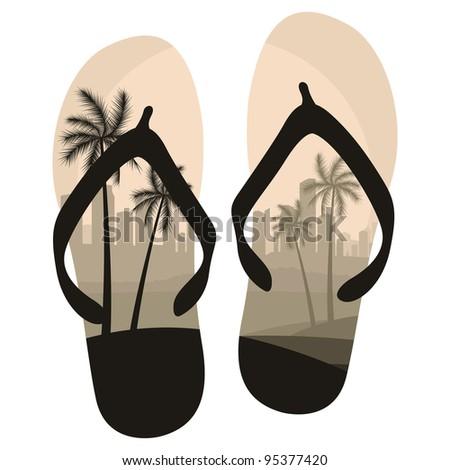 Beach slippers travel concept background illustration vector - stock vector