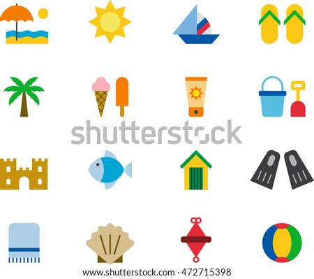 BEACH & SUMMER colored flat icons