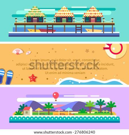 Beach summer landscape. Tourist huts on the coast, tourist village near the mountains. Vacation, relaxation, ocean, boats, sun, palms. Vector flat illustration - stock vector