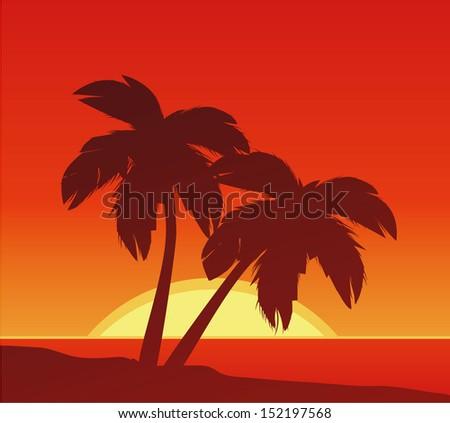 beach sunset - stock vector