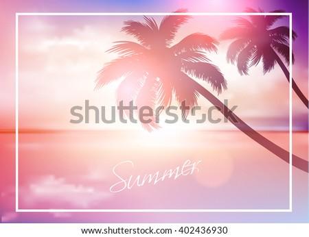 Beach sunset-Summer background - stock vector