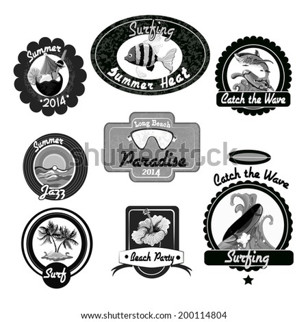 Beach surfing summer black emblems set isolated vector illustration - stock vector