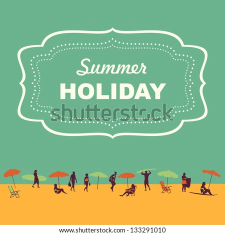beach theme vector in vintage style - stock vector