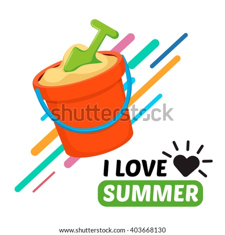 Beach toy bucket and text. Vacation travel background. Easy to edit design template. - stock vector