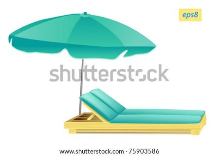 beach umbrella and chaise - stock vector