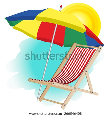 beach umbrella and chaise longue - stock vector