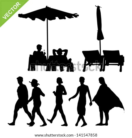 Beach umbrella and deck and peoples silhouette vector - stock vector