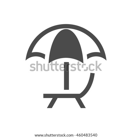 Beach umbrella icon in black and white grey single color. Vacation holiday - stock vector