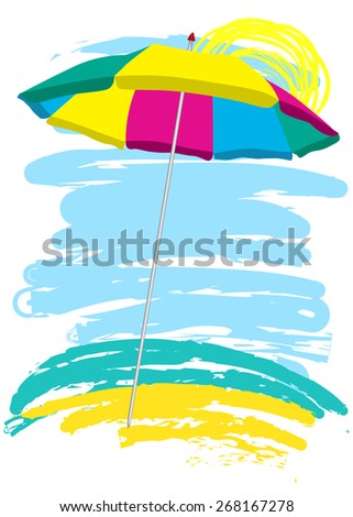 beach umbrella on the beach. sketch - stock vector
