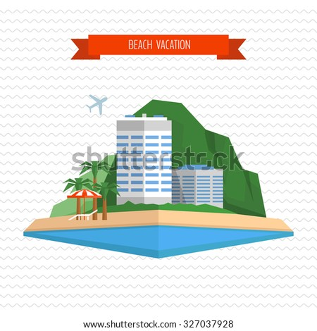 Beach vacation concept. Chaise longue, beach umbrella, hotel and tropical island landscape. Flat style, vector illustration. - stock vector