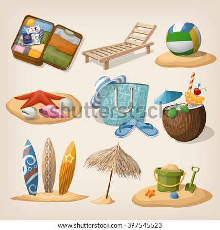 Beach vacation icon set. Vector illustration. EPS10