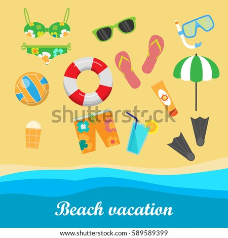 Beach Vacation Vector Concept Leisure On Seacoast Coastline With Stuff For Summer Resting And