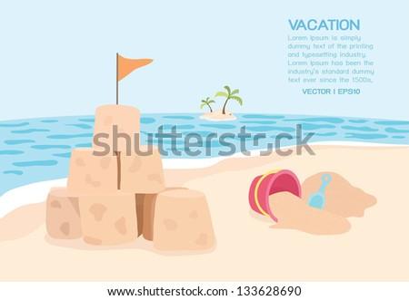 Beach, vector - stock vector