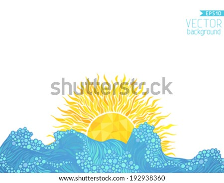 Beach vector background. There is place for your text on white area. - stock vector