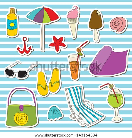 Beach vector stickers