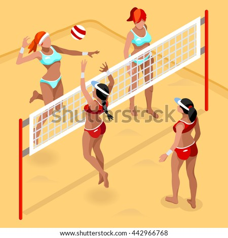 Beach Volley Player 2016 Sports Icon Set.3D Isometric Beach Volleyball.Sporting Championship International Beach Volley Competition.Sport Infographic Volley Vector Illustration - stock vector