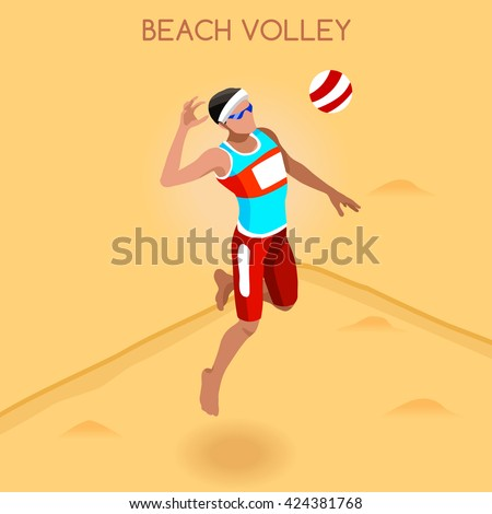 Beach Volley Player 2016 Summer Games Icon Set. 3D Isometric Beach Volleyball. Sporting Championship International Beach Volley Match Competition. Sport Infographic olympics Volley Vector Illustration - stock vector