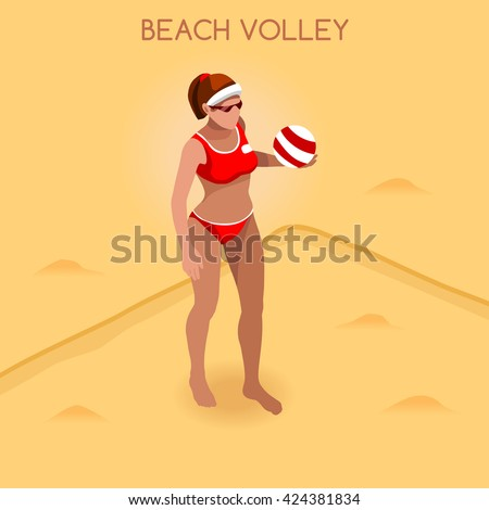 Beach Volley Player 2016 Summer Games Icon Set. 3D Isometric Beach Volleyball. Sporting Championship International Beach Volley Competition. Sport Infographic olympics Volley Vector Illustration. - stock vector