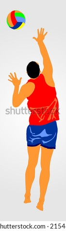 beach volleyball player vector illustration isolated on background. (1/30 image). Volleyball serve vector. - stock vector
