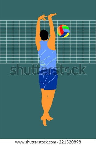 Beach volleyball player vector illustration isolated on background. Player at block, on the net.  - stock vector