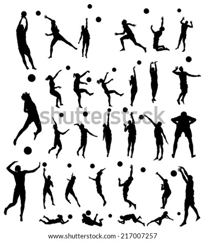 beach volleyball players vector silhouette illustration isolated on white background.