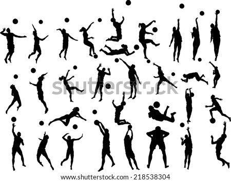 Beach volleyball players vector silhouette illustration isolated on white background. Many players in different position. - stock vector
