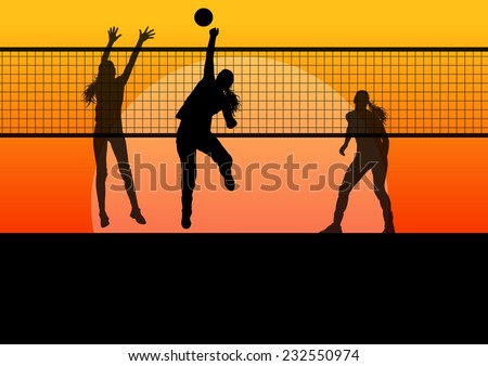 Beach volleyball woman player vector sunset background concept - stock vector