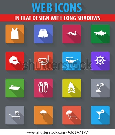 Beach web icons in flat design with long shadows