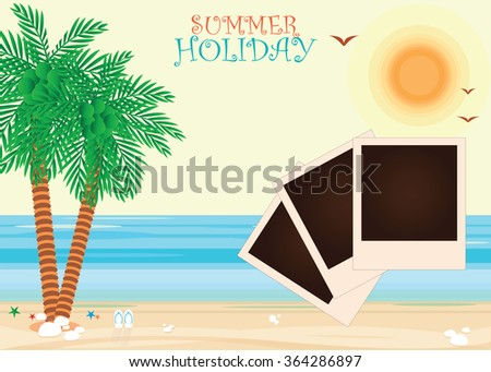 Beach with a photograph, palm trees and flip flops. Vacation background vector illustration.