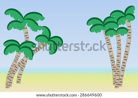 Beach with palm trees for tourist seaside holidays