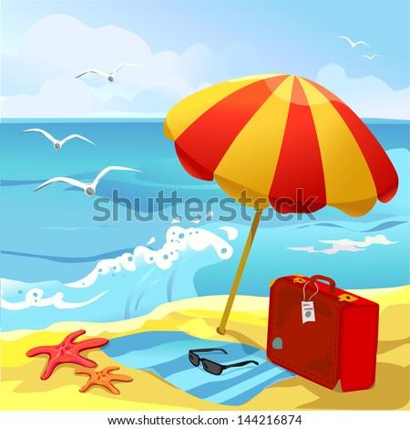 beach with sun umbrella and suitcase. vector illustration - stock vector
