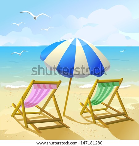 beach with sun umbrella and two lounge chairs - stock vector