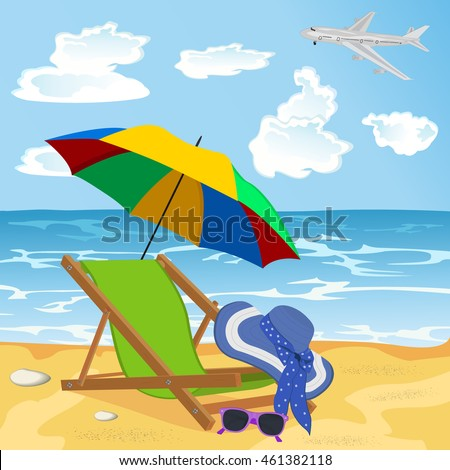 beach with umbrella, lounge chair, sun glasses, hat, design elements, vector illustration