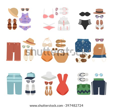 Beachwear cloth fashion looks and beachwear vacation lifestyle. Beachwear women collection, beachwear sea light sexy clothes. Beachwear fashion travel different flat vector summer icons. - stock vector