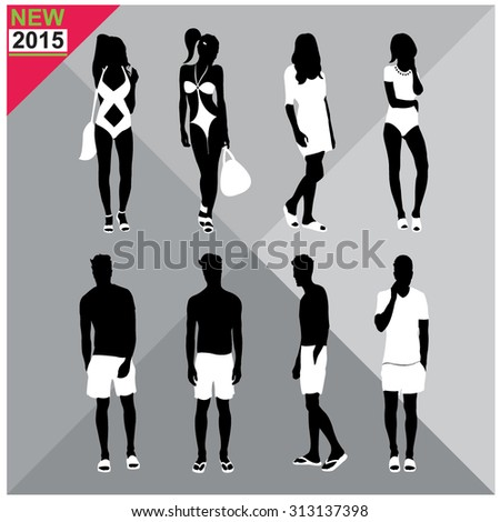 Beachwear / Swimwear swimsuits summer attire, women, men black silhouettes with white clothes on top, totally editable set, collection - stock vector