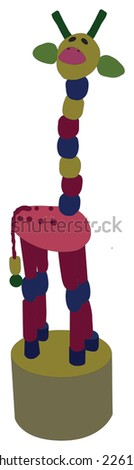 Beaded Giraffe Push Toy (isolated illustration)