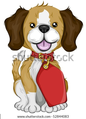 Beagle with Tag - Vector - stock vector