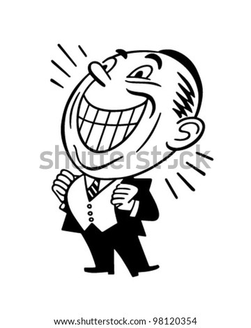 Beaming Man - Retro Clipart Illustration - stock vector