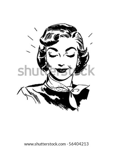 Beaming Woman - Retro Clip Art - stock vector