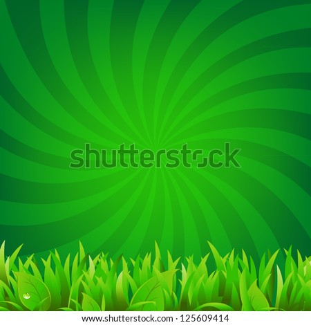 Beams And Green Grass With Gradient Mesh, Vector Illustration