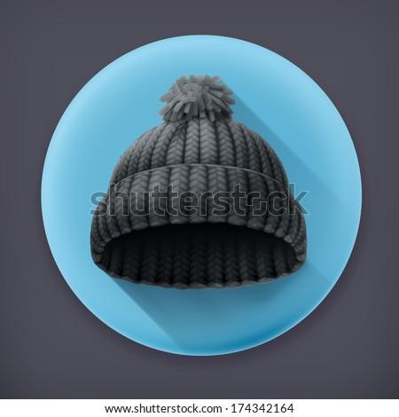 Beanie black cap, long shadow vector icon - stock vector
