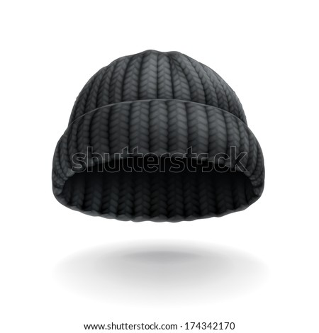 Beanie, black cap vector icon - stock vector