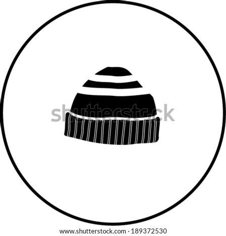 beanie knit cap symbol - stock vector