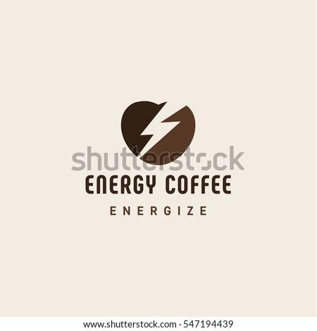 beans coffee form heart lightning logo stock vector