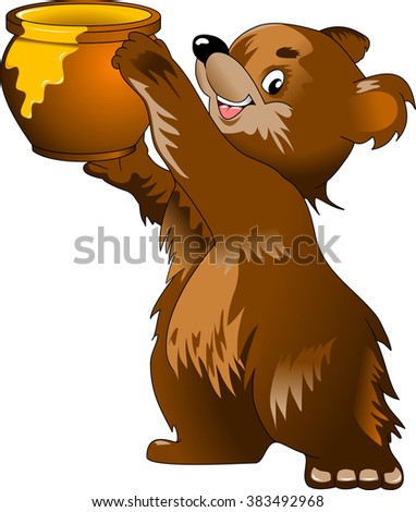 Bear and a large pot of honey, vector