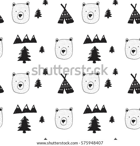bear and forest pattern for baby clothes and other uses