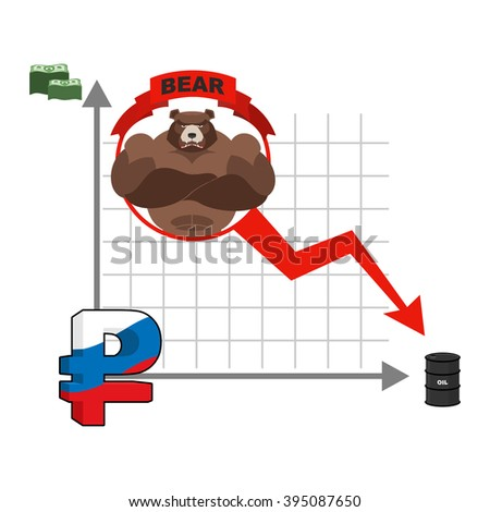 Bear and graph of fall of Russian ruble. Fall of quotations of money in Russia. business Infographics. Oil and dollars.  Red down arrow. Business graph - stock vector