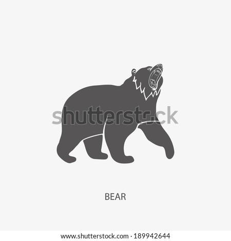 BEAR, angry bear silhouette vector - stock vector