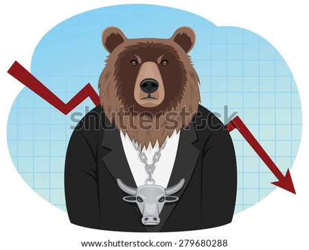 Bear businessman with a bull pendant is standing on the graph background. Bear market. - stock vector