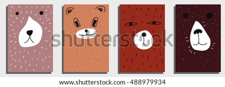 Bear card templates. Cute cartoon bear faces